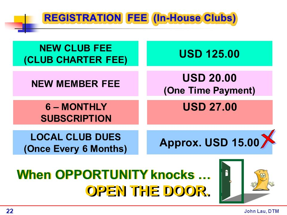 John Lau, DTM NEW CLUB FEE (CLUB CHARTER FEE) USD NEW MEMBER FEE USD (One Time Payment) 6 – MONTHLY SUBSCRIPTION USD LOCAL CLUB DUES (Once Every 6 Months) Approx.