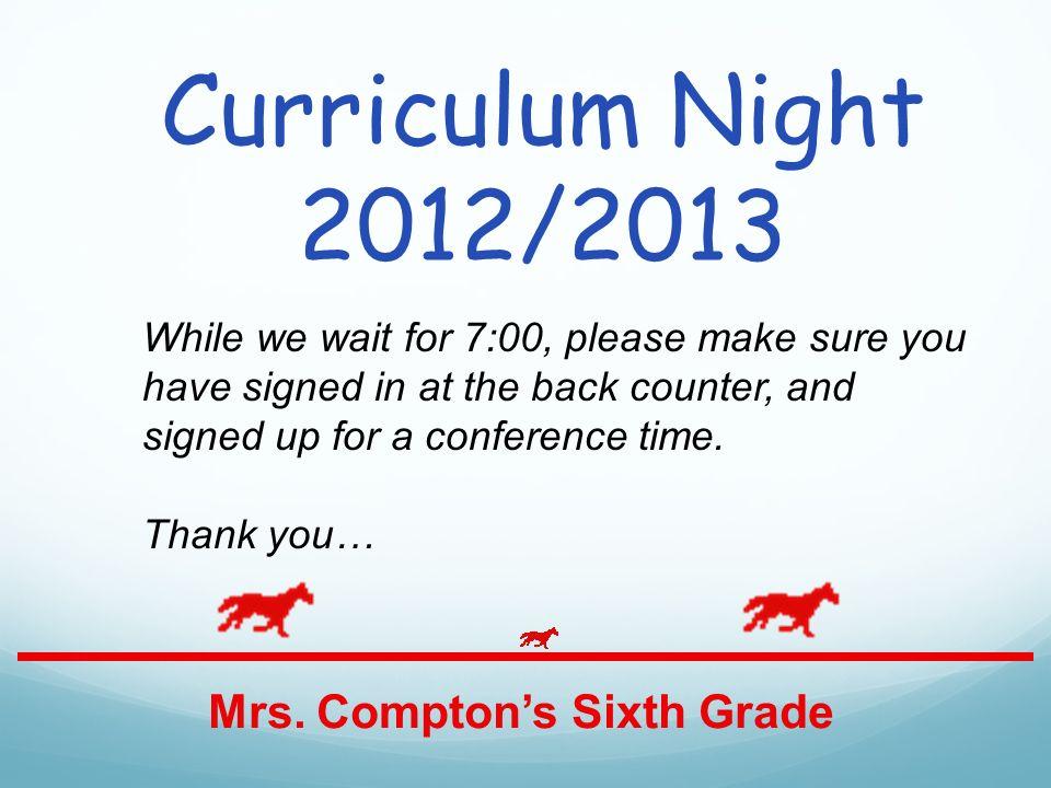Curriculum Night 2012/2013 Mrs.