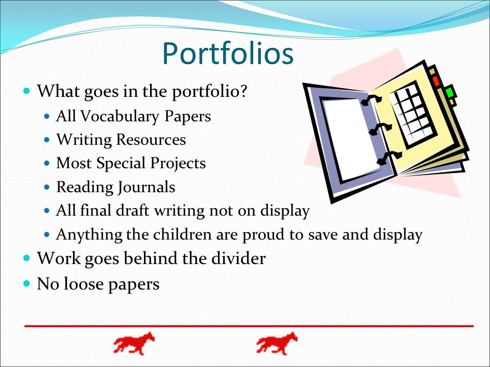 Portfolios What goes in the portfolio? All Vocabulary Papers Writing Resources Most Special Projects Reading Journals All final draft writing not on d