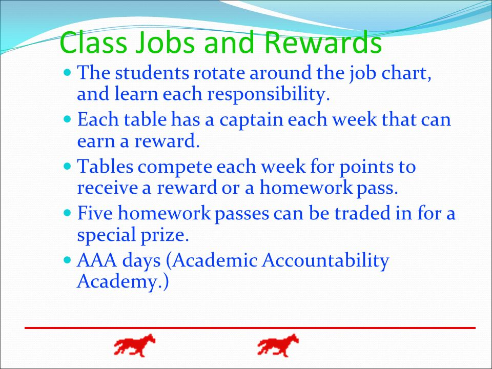 Class Jobs and Rewards The students rotate around the job chart, and learn each responsibility. Each table has a captain each week that can earn a rew