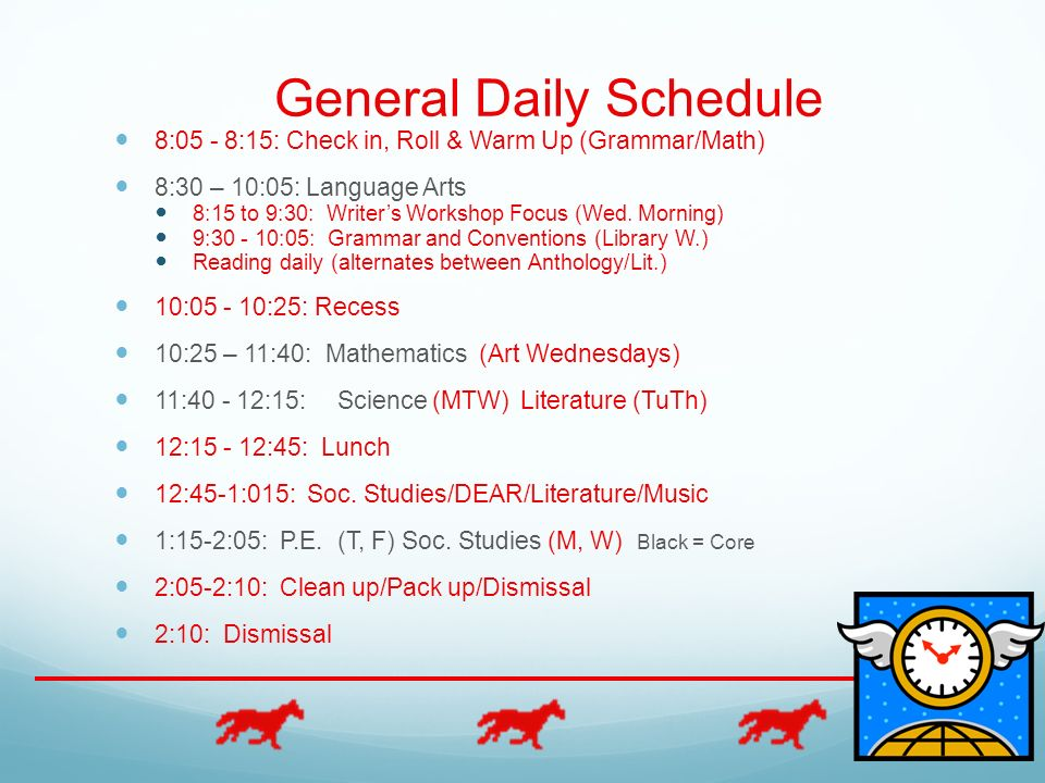 General Daily Schedule 8:05 - 8:15: Check in, Roll & Warm Up (Grammar/Math) 8:30 – 10:05: Language Arts 8:15 to 9:30: Writers Workshop Focus (Wed. Mor