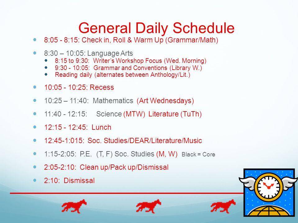 General Daily Schedule 8:05 - 8:15: Check in, Roll & Warm Up (Grammar/Math) 8:30 – 10:05: Language Arts 8:15 to 9:30: Writers Workshop Focus (Wed.