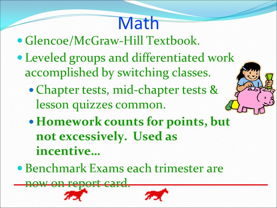 Math Glencoe/McGraw-Hill Textbook. Leveled groups and differentiated work accomplished by switching classes. Chapter tests, mid-chapter tests & lesson
