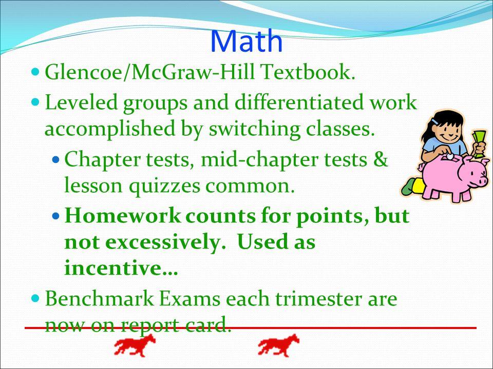 Math Glencoe/McGraw-Hill Textbook.