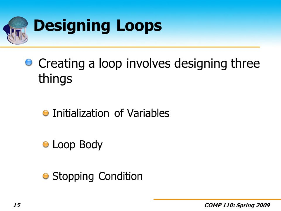 COMP 110: Spring 200915 Designing Loops Creating a loop involves designing three things Initialization of Variables Loop Body Stopping Condition