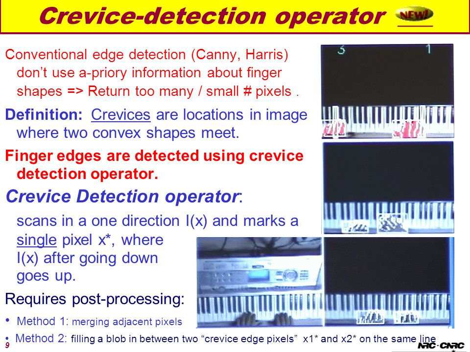 9 Crevice-detection operator ___ Conventional edge detection (Canny, Harris) dont use a-priory information about finger shapes => Return too many / sm