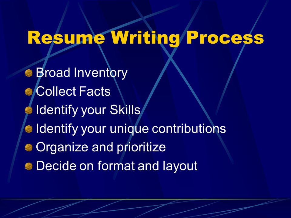 Resume Writing Process Broad Inventory Collect Facts Identify your Skills Identify your unique contributions Organize and prioritize Decide on format