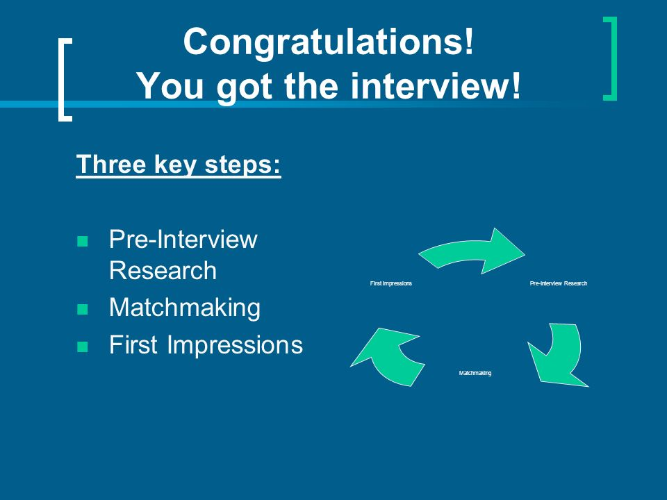 Congratulations! You got the interview! Three key steps: Pre-Interview Research Matchmaking First Impressions Pre-Interview Research Matchmaking First