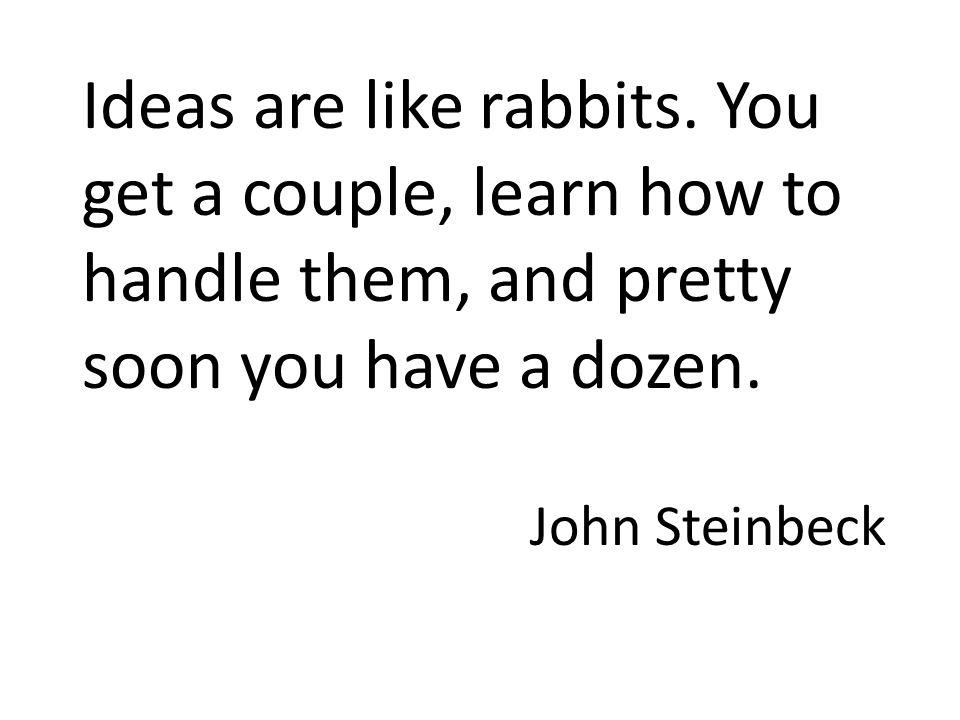 Ideas are like rabbits.