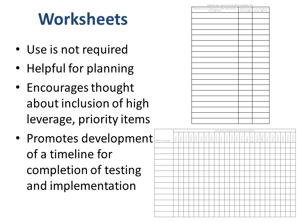 Worksheets Use is not required Helpful for planning Encourages thought about inclusion of high leverage, priority items Promotes development of a timeline for completion of testing and implementation