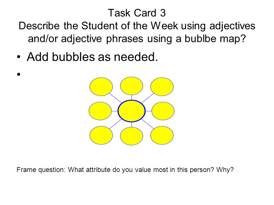 Task Card 4 Use the partial Multi-flow map to establish the reasons this person was chosen to be Student of the Week..