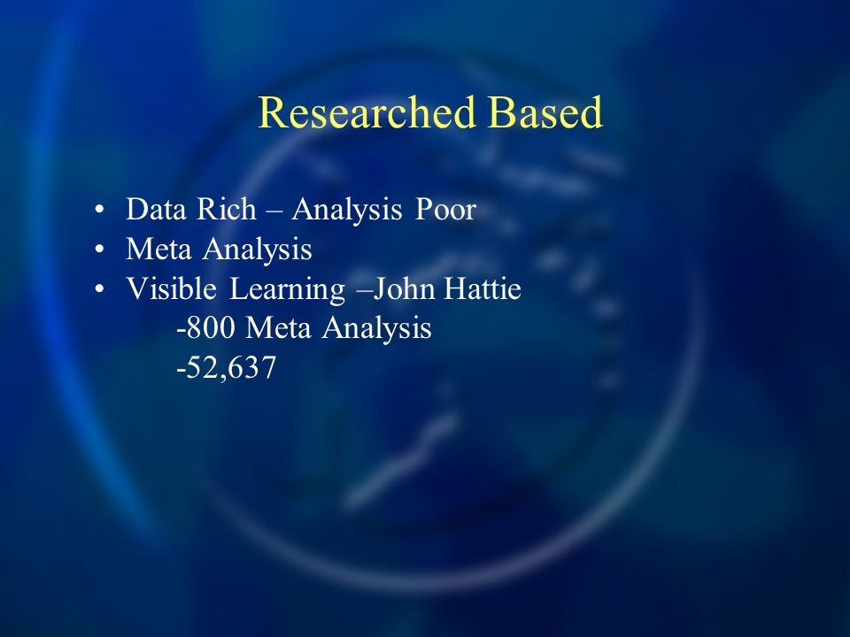 Researched Based Data Rich – Analysis Poor Meta Analysis Visible Learning –John Hattie -800 Meta Analysis -52,637