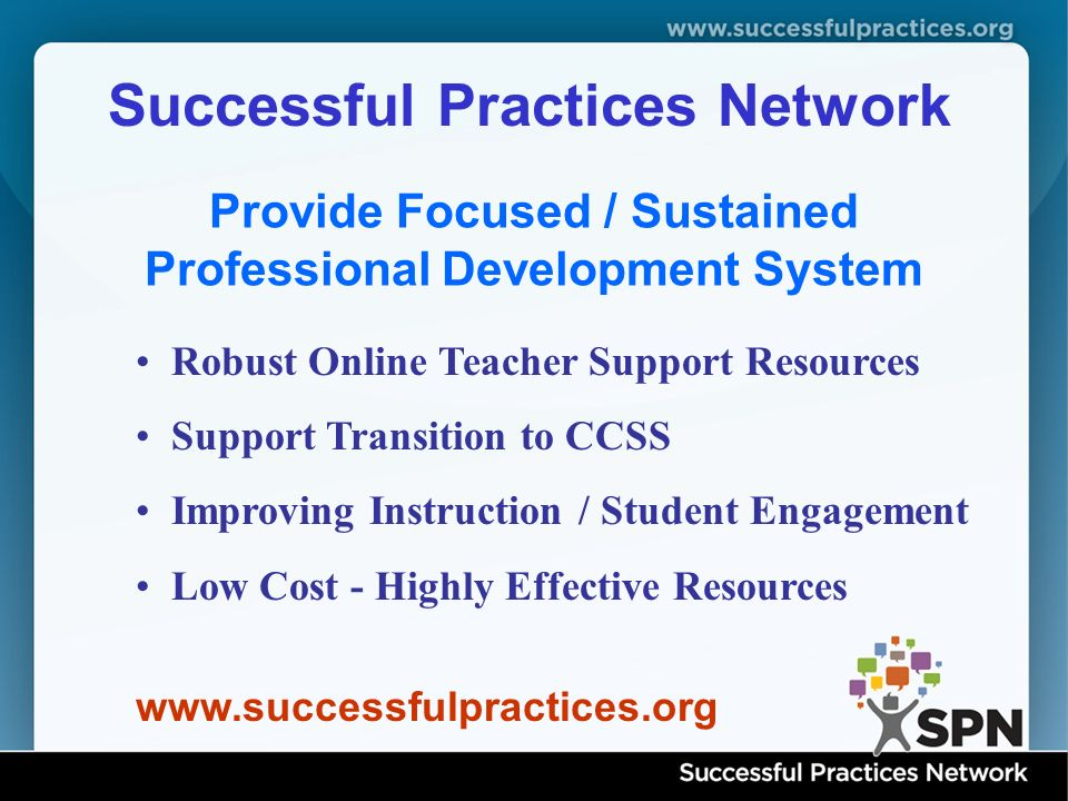 Successful Practices Network www.successfulpractices.org Provide Focused / Sustained Professional Development System Robust Online Teacher Support Resources Support Transition to CCSS Improving Instruction / Student Engagement Low Cost - Highly Effective Resources