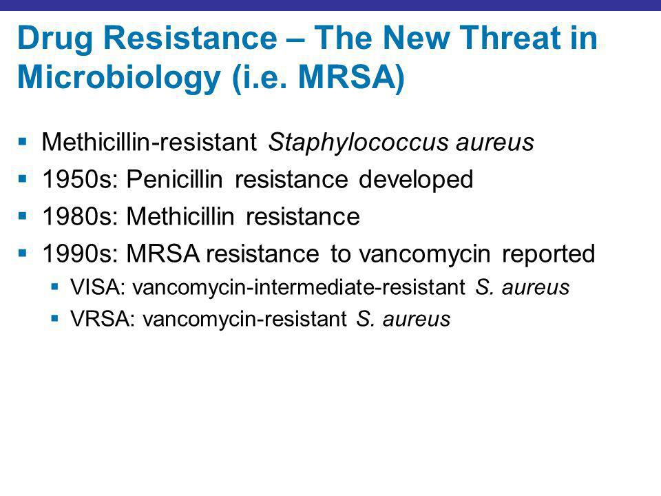 Drug Resistance – The New Threat in Microbiology (i.e. MRSA) Methicillin-resistant Staphylococcus aureus 1950s: Penicillin resistance developed 1980s: