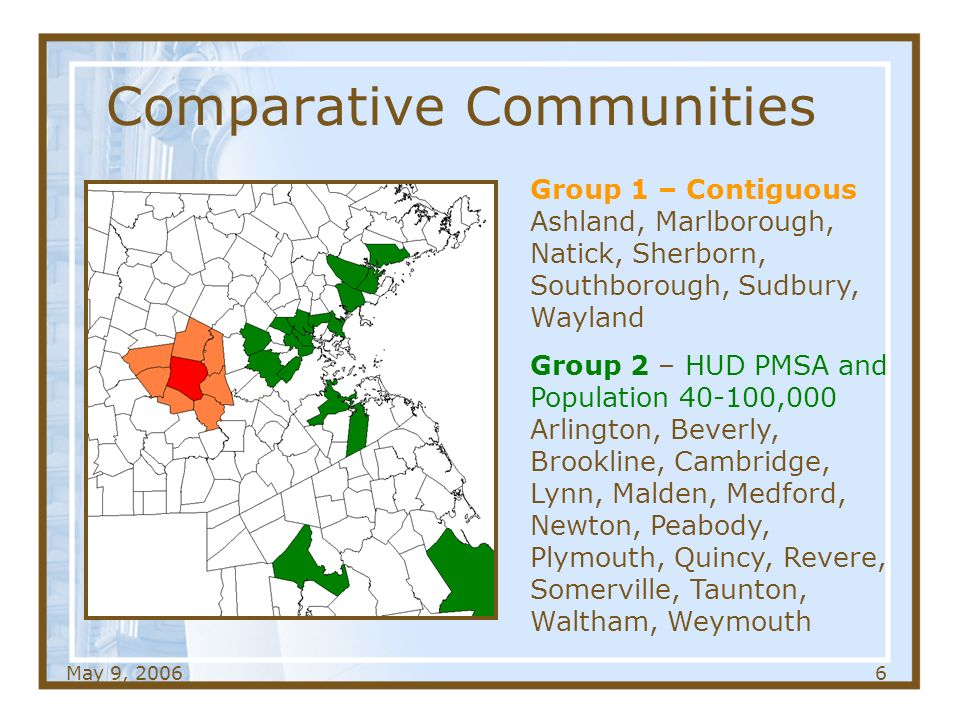 May 9, Comparative Communities Group 1 – Contiguous Ashland, Marlborough, Natick, Sherborn, Southborough, Sudbury, Wayland Group 2 – HUD PMSA and Population ,000 Arlington, Beverly, Brookline, Cambridge, Lynn, Malden, Medford, Newton, Peabody, Plymouth, Quincy, Revere, Somerville, Taunton, Waltham, Weymouth