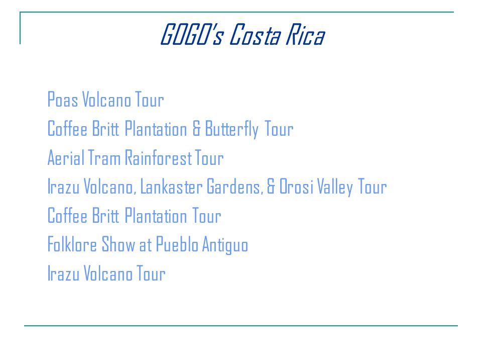 Poas Volcano Tour Coffee Britt Plantation & Butterfly Tour Aerial Tram Rainforest Tour Irazu Volcano, Lankaster Gardens, & Orosi Valley Tour Coffee Britt Plantation Tour Folklore Show at Pueblo Antiguo Irazu Volcano Tour