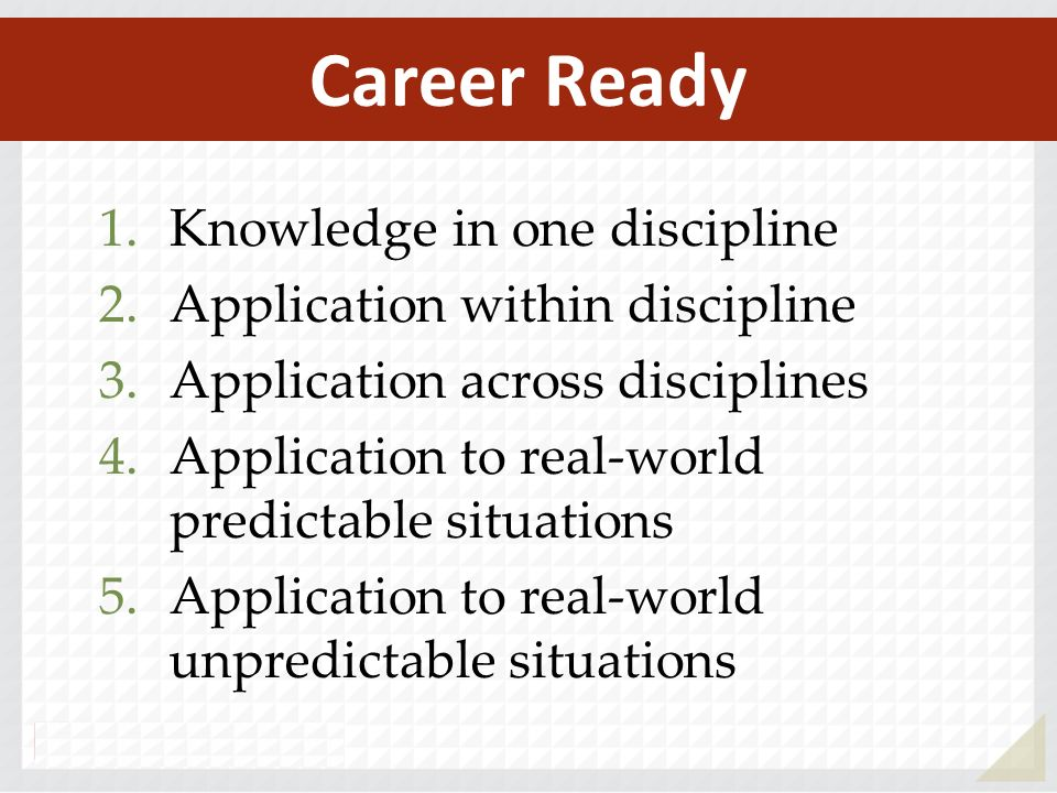 1.Knowledge in one discipline 2.Application within discipline 3.Application across disciplines 4.Application to real-world predictable situations 5.Application to real-world unpredictable situations Career Ready