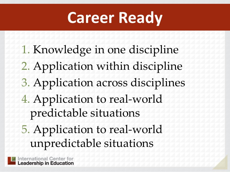 1. Knowledge in one discipline 2. Application within discipline 3.