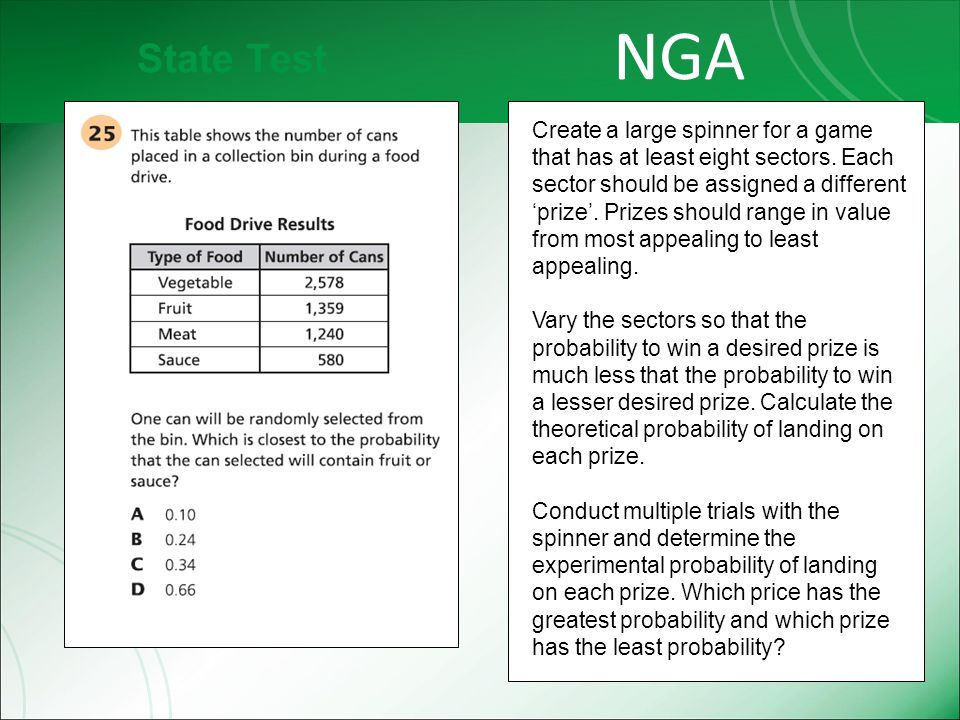 State Test NGA Create a large spinner for a game that has at least eight sectors.