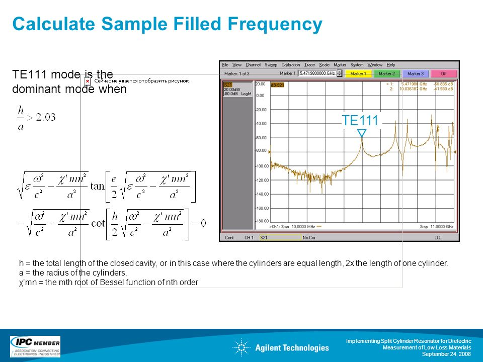 Implementing Split Cylinder Resonator for Dielectric Measurement of Low Loss Materials September 24, 2008 Calculate Sample Filled Frequency TE111 mode