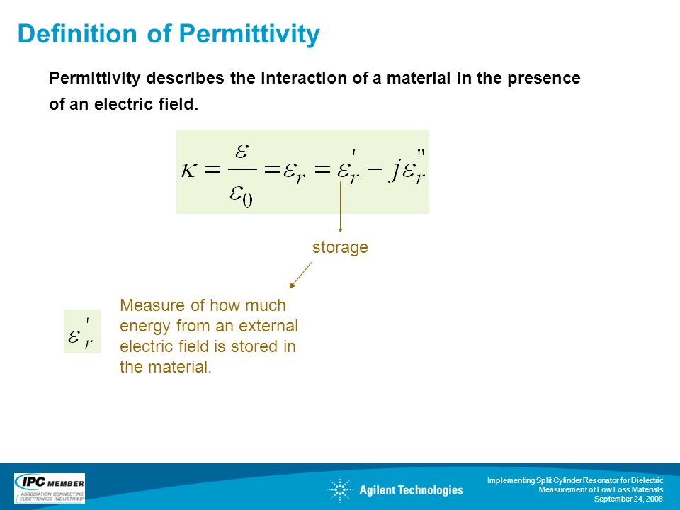 Implementing Split Cylinder Resonator for Dielectric Measurement of Low Loss Materials September 24, 2008 Definition of Permittivity storage Measure o