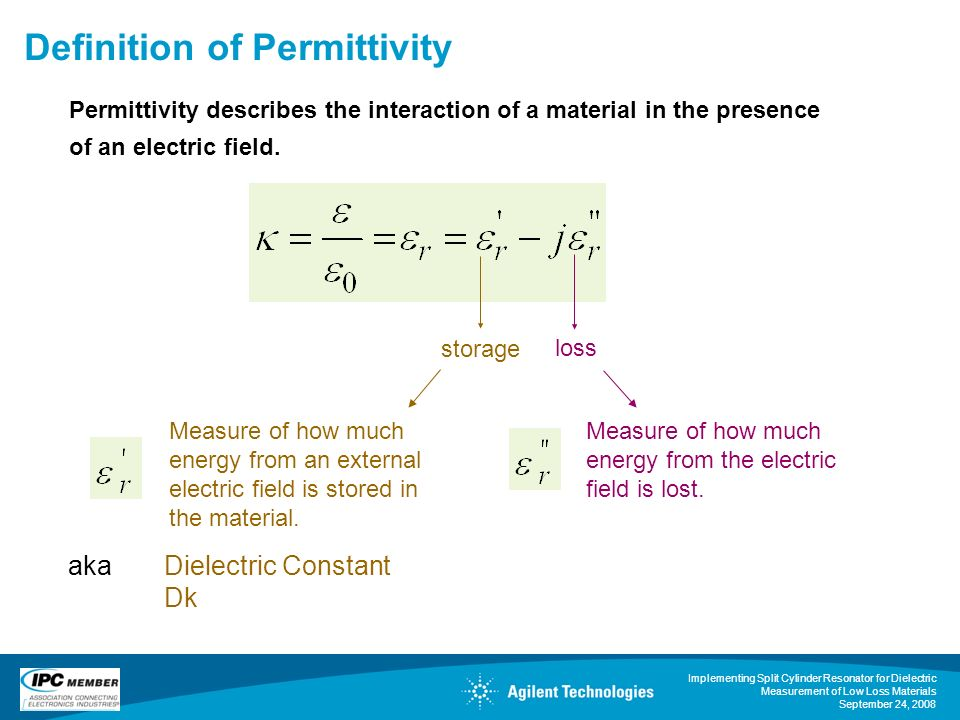 Implementing Split Cylinder Resonator for Dielectric Measurement of Low Loss Materials September 24, 2008 Definition of Permittivity storage loss Measure of how much energy from an external electric field is stored in the material.