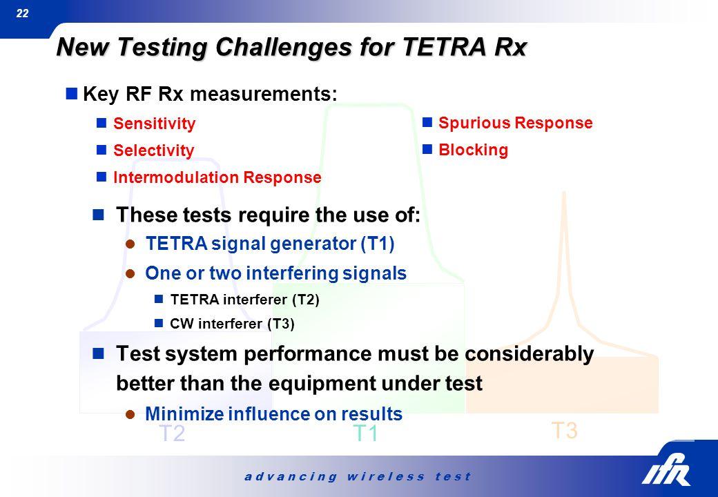 a d v a n c i n g w i r e l e s s t e s t 22 T3 T2 T1 New Testing Challenges for TETRA Rx Key RF Rx measurements: Sensitivity Selectivity Intermodulat