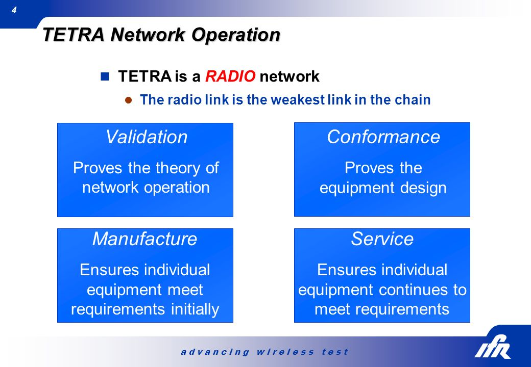 a d v a n c i n g w i r e l e s s t e s t 4 TETRA is a RADIO network The radio link is the weakest link in the chain TETRA Network Operation Validatio