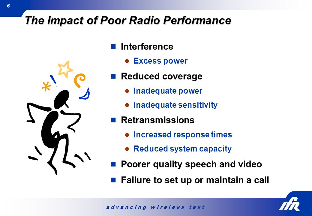 a d v a n c i n g w i r e l e s s t e s t 6 The Impact of Poor Radio Performance Interference Excess power Reduced coverage Inadequate power Inadequat
