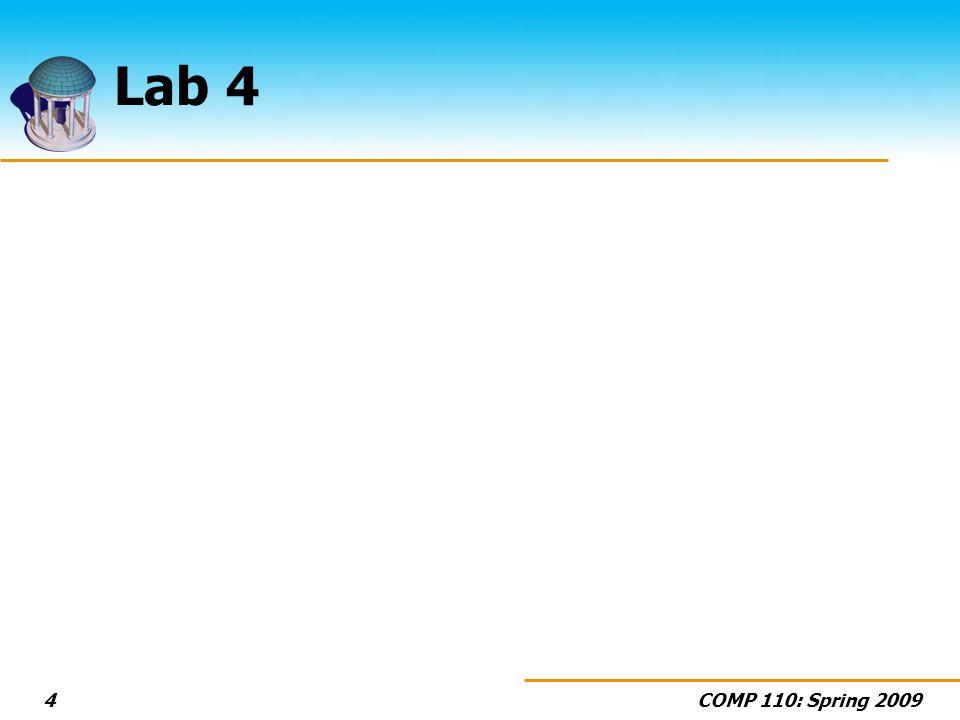 COMP 110: Spring 20094 Lab 4