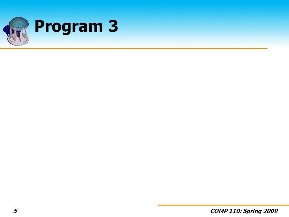 COMP 110: Spring 20095 Program 3