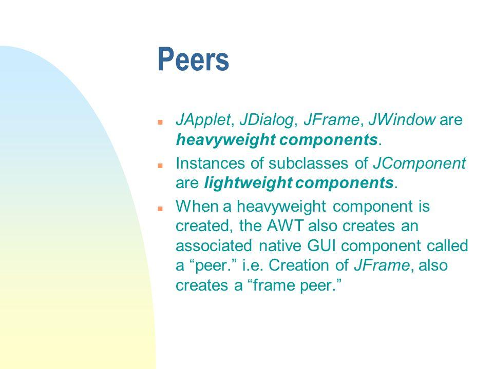 Peers n JApplet, JDialog, JFrame, JWindow are heavyweight components.