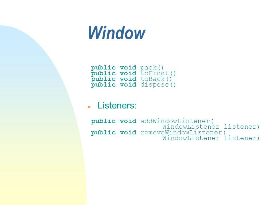 Window public void pack() public void toFront() public void toBack() public void dispose() n Listeners: public void addWindowListener( WindowListener listener) public void removeWindowListener( WindowListener listener)