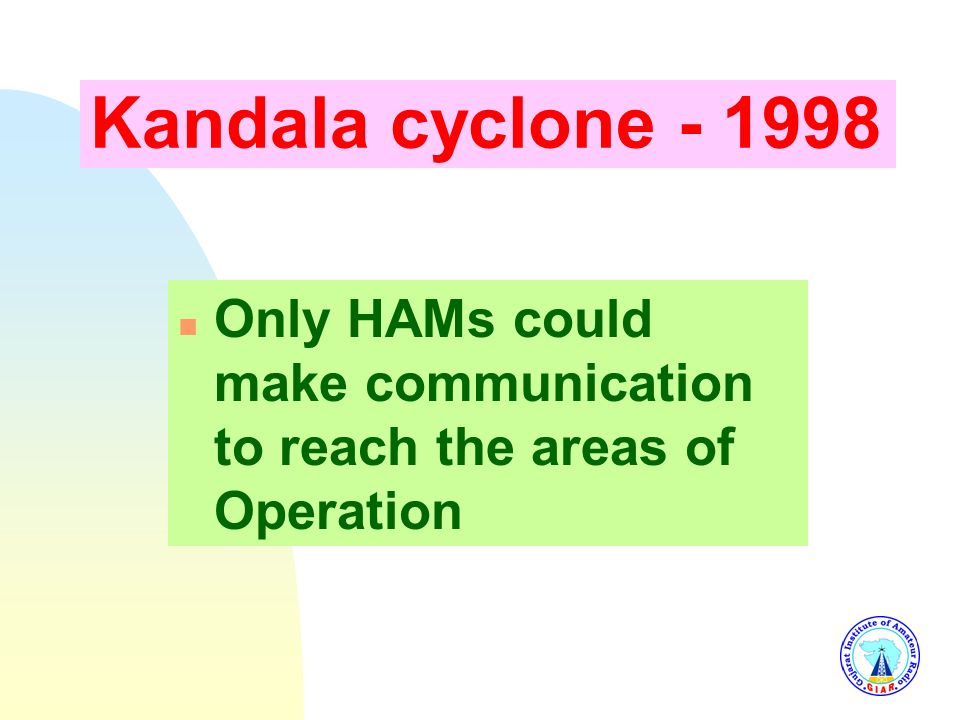 During 1982-83 Amreli Cyclone and Porbandar Flood n Only means of communication was HAM Radio