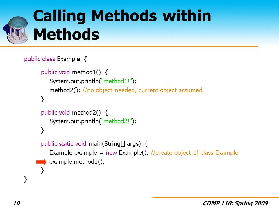 COMP 110: Spring Calling Methods within Methods public class Example { public void method1() { System.out.println( method1! ); method2(); //no object needed, current object assumed } public void method2() { System.out.println( method2! ); } public static void main(String[] args) { Example example = new Example(); //create object of class Example example.method1(); }
