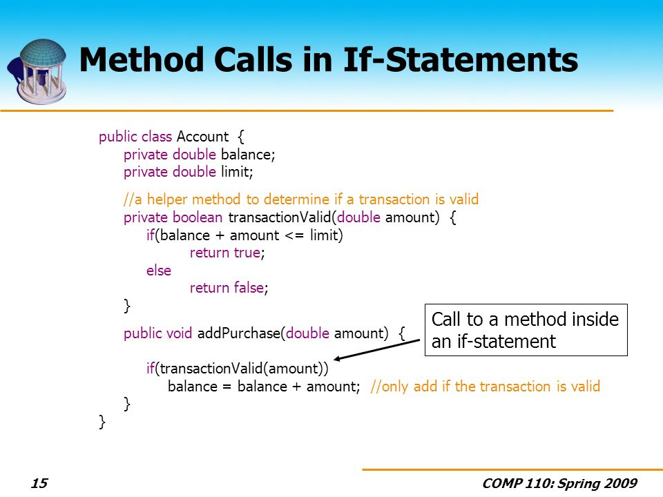 COMP 110: Spring Method Calls in If-Statements public class Account { private double balance; private double limit; //a helper method to determine if a transaction is valid private boolean transactionValid(double amount) { if(balance + amount <= limit) return true; else return false; } public void addPurchase(double amount) { if(transactionValid(amount)) balance = balance + amount; //only add if the transaction is valid } Call to a method inside an if-statement