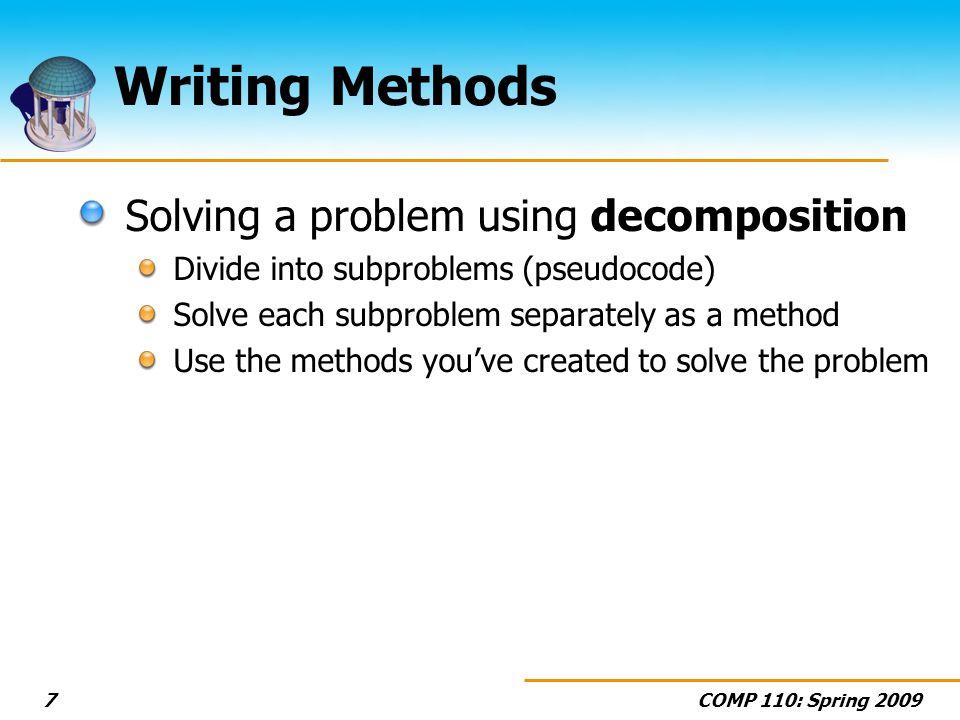 COMP 110: Spring 200938 Wednesday Array Basics (Section 7.1)