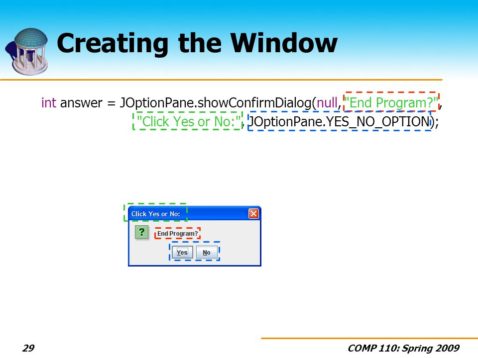 COMP 110: Spring 200929 Creating the Window int answer = JOptionPane.showConfirmDialog(null, End Program , Click Yes or No: , JOptionPane.YES_NO_OPTION);