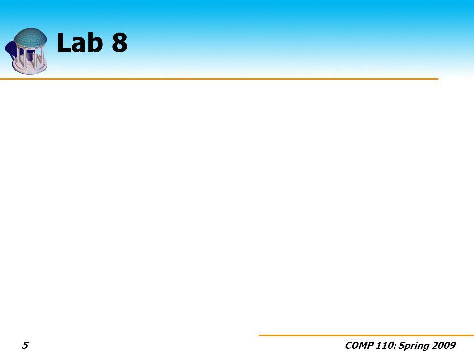 COMP 110: Spring 20095 Lab 8