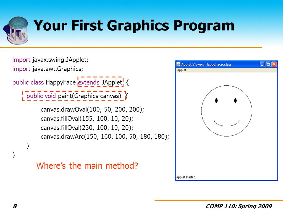 COMP 110: Spring 20098 Your First Graphics Program import javax.swing.JApplet; import java.awt.Graphics; public class HappyFace extends JApplet { public void paint(Graphics canvas) { canvas.drawOval(100, 50, 200, 200); canvas.fillOval(155, 100, 10, 20); canvas.fillOval(230, 100, 10, 20); canvas.drawArc(150, 160, 100, 50, 180, 180); } Wheres the main method?