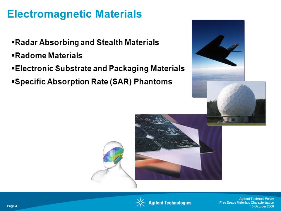 Electromagnetic Materials Radar Absorbing and Stealth Materials Radome Materials Electronic Substrate and Packaging Materials Specific Absorption Rate