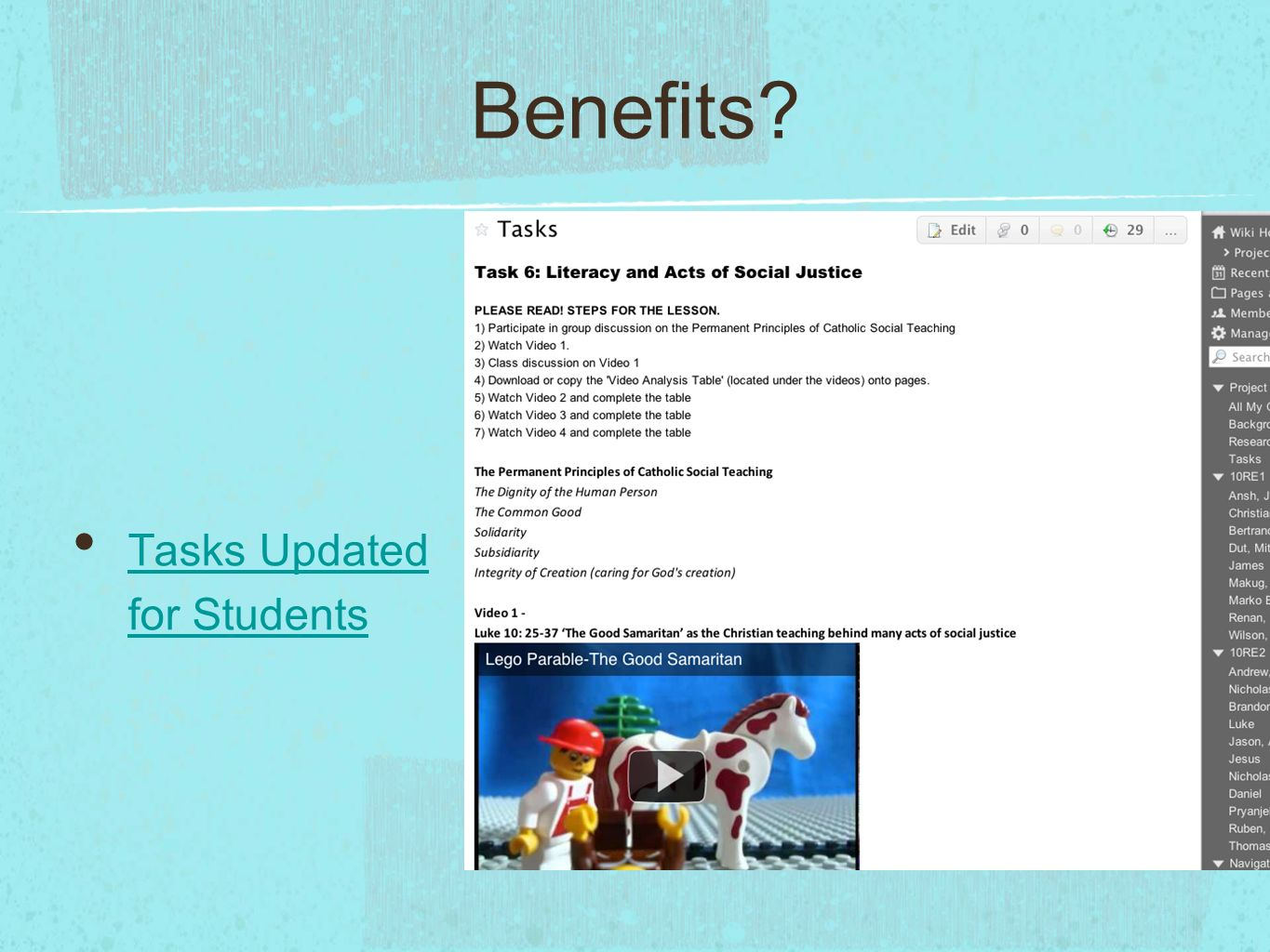 Benefits Tasks Updated for Students Tasks Updated for Students