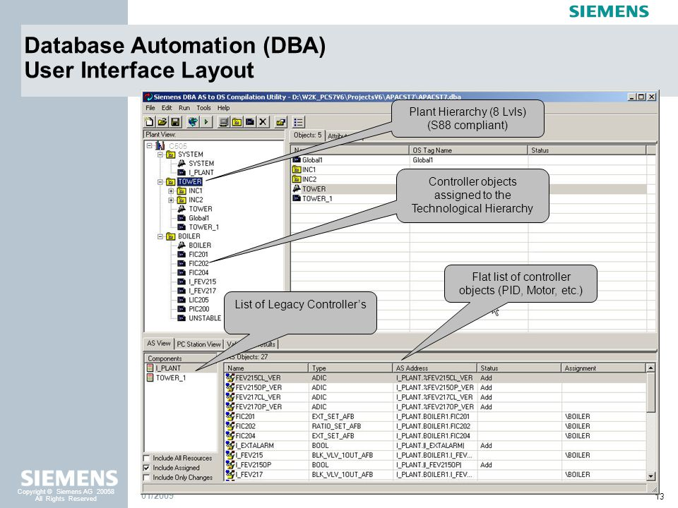 13 Copyright © Siemens AG 20058 All Rights Reserved 01/2009 C505 Database Automation (DBA) User Interface Layout List of Legacy Controllers Flat list