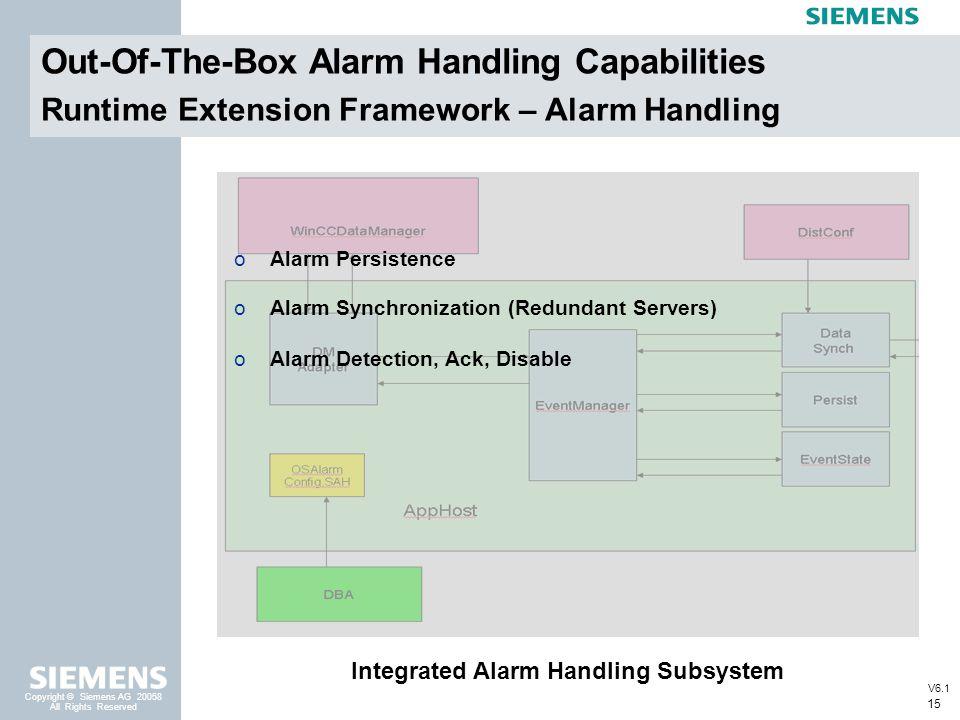 15 Copyright © Siemens AG 20058 All Rights Reserved Runtime Extension Framework – Alarm Handling Integrated Alarm Handling Subsystem oAlarm Persistenc