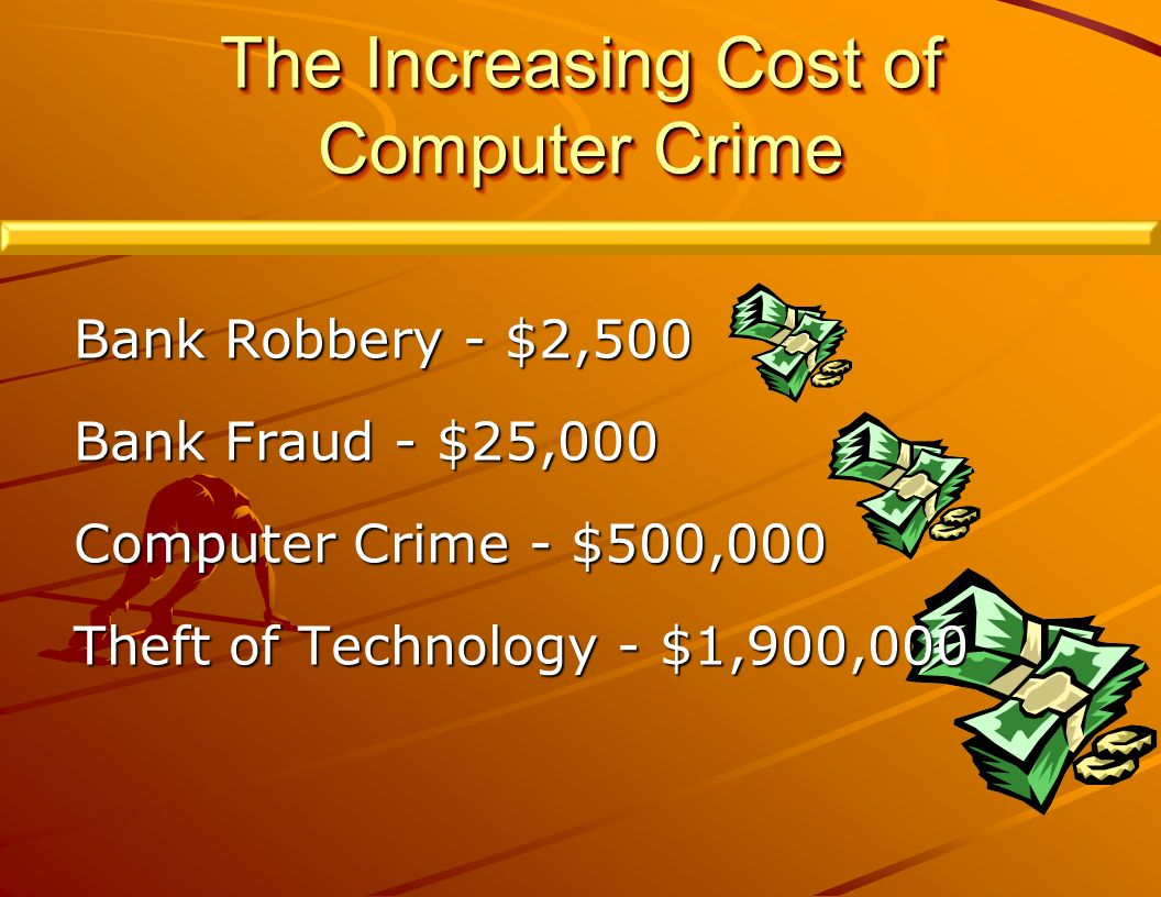 The Increasing Cost of Computer Crime Bank Robbery - $2,500 Bank Fraud - $25,000 Computer Crime - $500,000 Theft of Technology - $1,900,000
