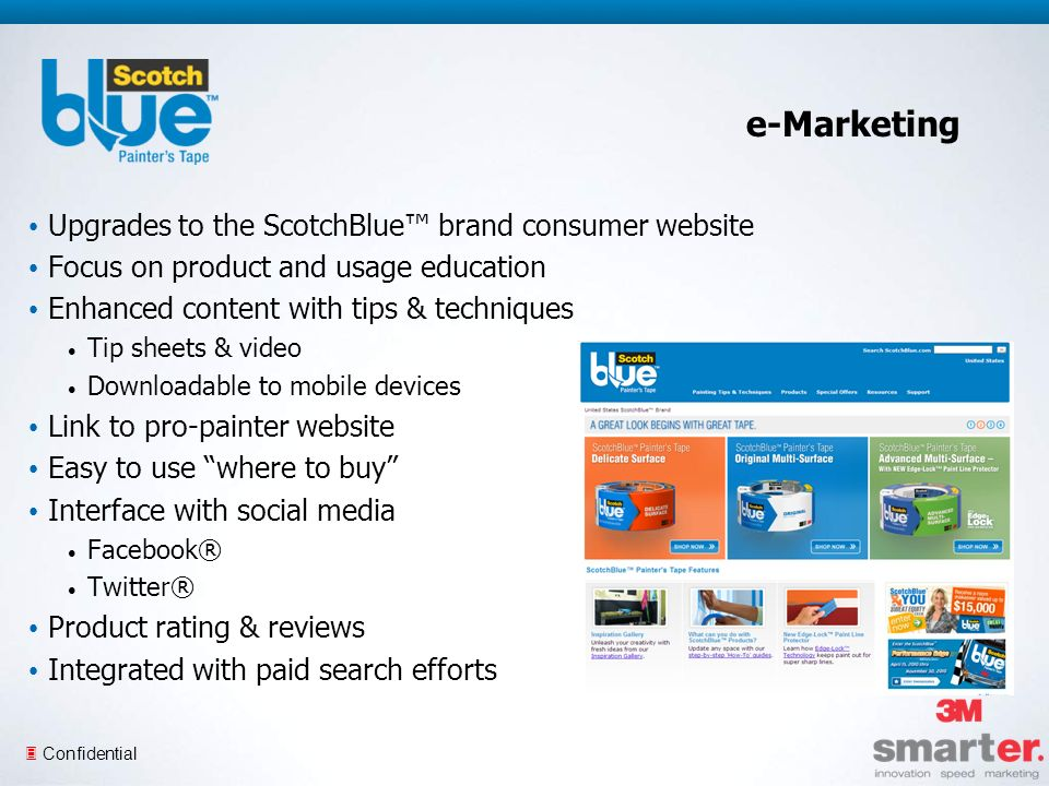 3 Confidential e-Marketing Upgrades to the ScotchBlue brand consumer website Focus on product and usage education Enhanced content with tips & techniques Tip sheets & video Downloadable to mobile devices Link to pro-painter website Easy to use where to buy Interface with social media Facebook® Twitter® Product rating & reviews Integrated with paid search efforts