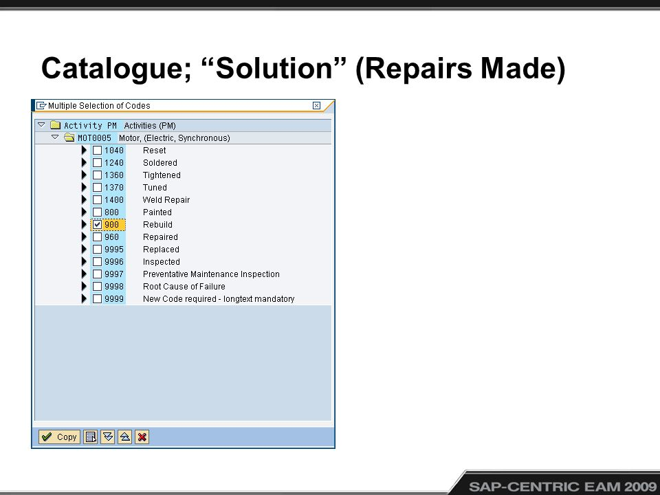 Catalogue; Solution (Repairs Made)