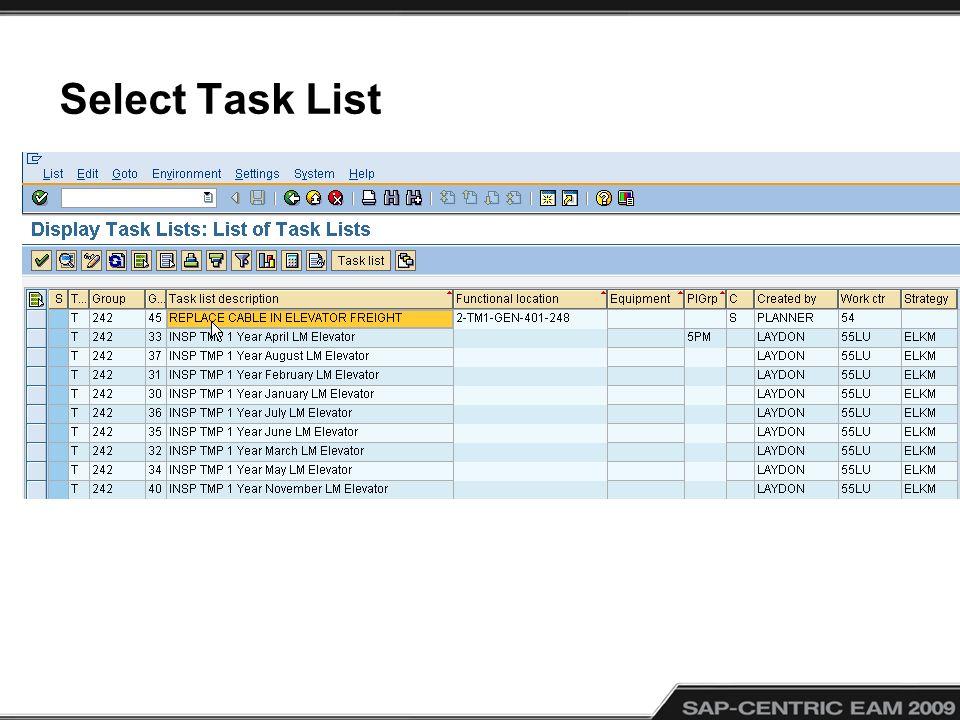 Select Task List