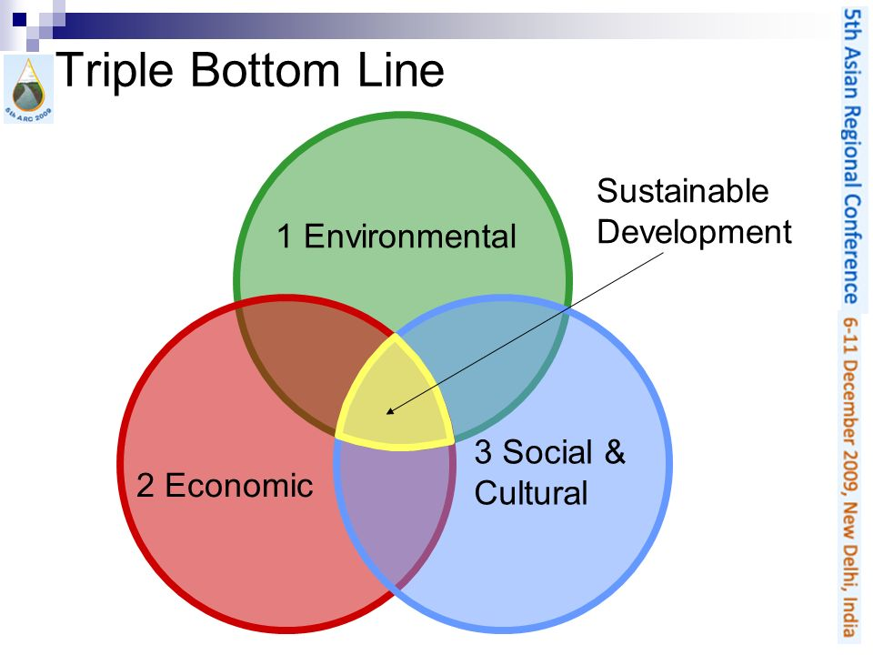 Triple Bottom Line 1 Environmental 2 Economic 3 Social & Cultural Sustainable Development