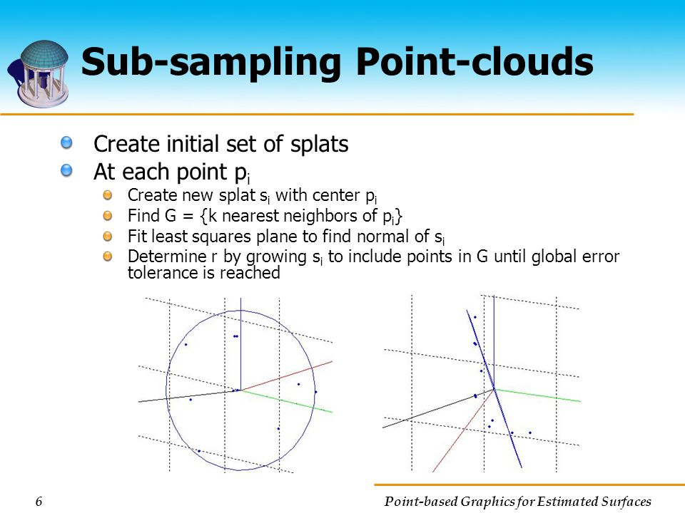 6 Point-based Graphics for Estimated Surfaces Sub-sampling Point-clouds Create initial set of splats At each point p i Create new splat s i with cente